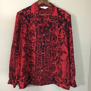 Vintage 80s Red Black Floral Print Blouse